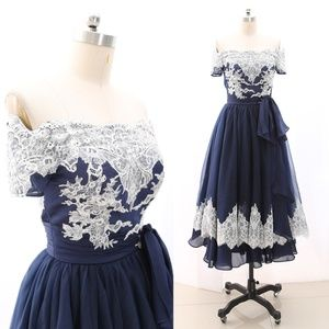 Off Shoulder Navy Tea Length Prom Homecoming Dress